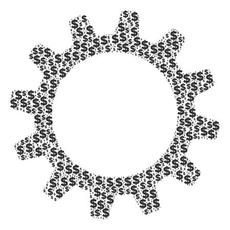 Cogwheel composition of dollars and round dots. Vector money symbols are combined into cogwheel shape.