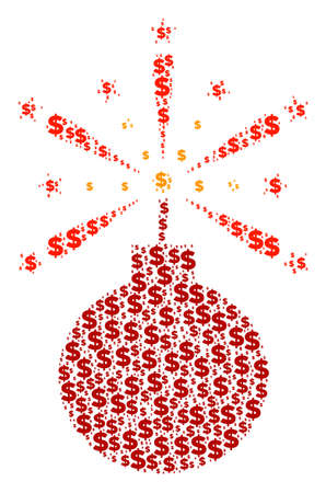Fireworks detonator collage of dollar symbols and circle spots. Vector dollar currency symbols are composed into fireworks detonator shape. Иллюстрация