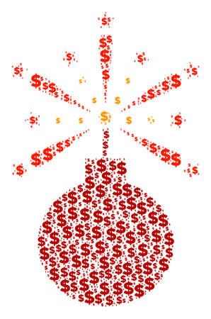 Fireworks detonator collage of dollar symbols and circle spots. Vector dollar currency symbols are composed into fireworks detonator shape. Illustration