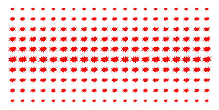 Boom bang icon halftone pattern, designed for backgrounds, covers, templates and abstraction compositions. Vector boom bang objects organized into halftone grid.