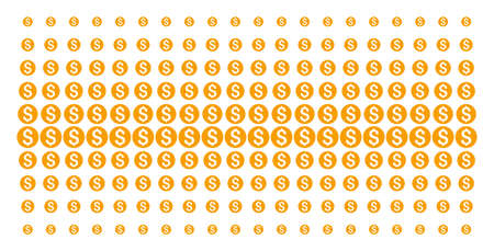 Dollar coin icon halftone pattern, constructed for backgrounds, covers, templates and abstract compositions. Vector dollar coin symbols arranged into halftone matrix.