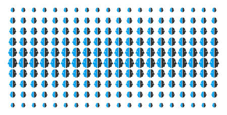 Dual face icon halftone pattern, designed for backgrounds, covers, templates and abstract effects. Vector dual face items organized into halftone grid. Çizim