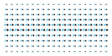 Exit direction icon halftone pattern, designed for backgrounds, covers, templates and abstraction effects. Vector exit direction pictograms arranged into halftone matrix. Ilustração