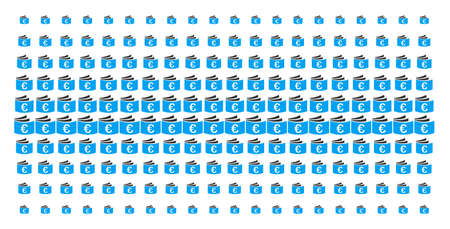 Euro checkbook icon halftone pattern, constructed for backgrounds, covers, templates and abstraction effects. Vector Euro checkbook shapes organized into halftone array.