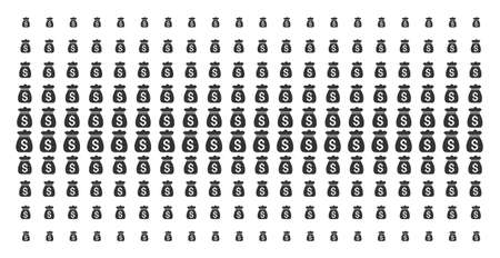 Money bag icon halftone pattern, constructed for backgrounds, covers, templates and abstraction effects. Vector money bag items arranged into halftone grid.  イラスト・ベクター素材