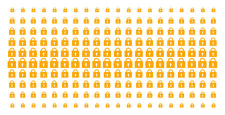 Lock icon halftone pattern, constructed for backgrounds, covers, templates and abstract effects. Vector lock shapes arranged into halftone matrix. Illustration