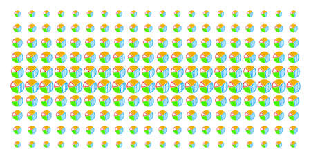 Pie chart icon halftone pattern, designed for backgrounds, covers, templates and abstraction effects. Vector pie chart shapes organized into halftone grid.
