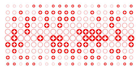 Pharmacy icon halftone pattern, constructed for backgrounds, covers, templates and abstract effects. Vector pharmacy symbols organized into halftone matrix.