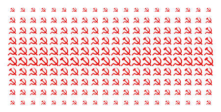 Sickle and hammer icon halftone pattern, constructed for backgrounds, covers, templates and abstract compositions. Vector sickle and hammer symbols organized into halftone array. Ilustrace