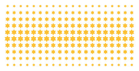 Six pointed star icon halftone pattern, designed for backgrounds, covers, templates and abstraction compositions. Vector six pointed star symbols organized into halftone matrix. Ilustração
