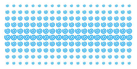 Spiral icon halftone pattern, constructed for backgrounds, covers, templates and abstraction compositions. Vector spiral pictograms organized into halftone matrix.