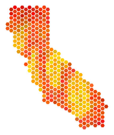 California map. Raster hex-tile geographic plan drawn with bright orange color shades. Abstract California Map collage is constructed of burn hex-tile dots. Banco de Imagens