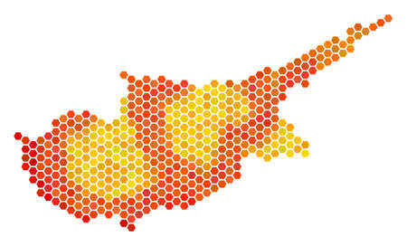 Cyprus Island map. Raster honeycomb territorial plan in bright orange color tones. Abstract Cyprus Island Map mosaic is combined with flame hexagonal pixels.