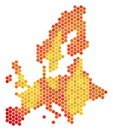 European Union map. Raster hexagon territory scheme using bright orange color tinges. Abstract European Union Map composition is designed with fired honeycomb dots.