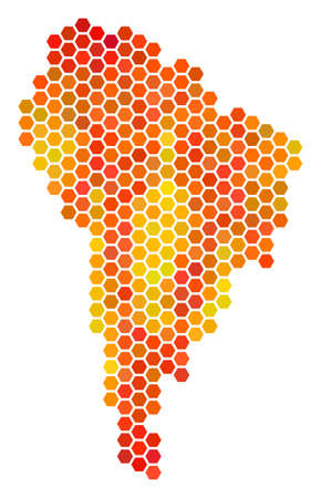 South America map. Raster hexagonal territory plan using orange color hues. Abstract South America Map concept is constructed with fire hex tile spots. Stock Photo
