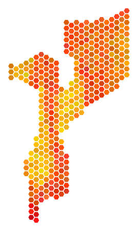 mozambique map raster hex tile territory plan in bright orange