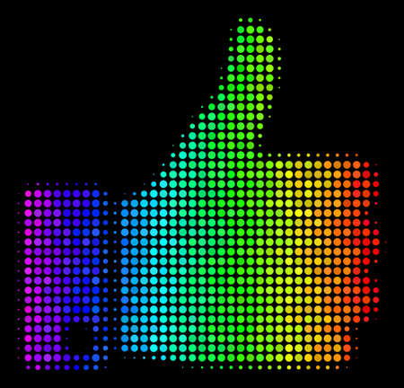 Dotted bright halftone thumb up icon drawn with rainbow color tinges with horizontal gradient on a black background.