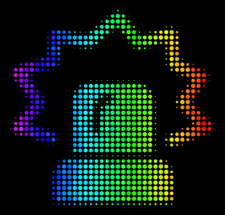Dot impressive halftone alarm icon drawn with spectral color tinges with horizontal gradient on a black background.