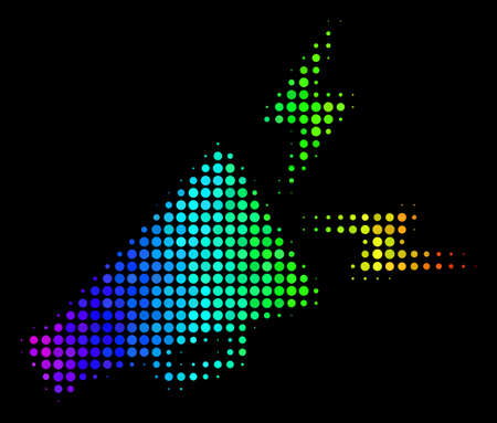 Pixelated impressive halftone alert megaphone icon using rainbow color variations with horizontal gradient on a black background.
