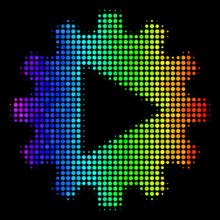 Pixelated impressive halftone automation icon drawn with spectral color tinges with horizontal gradient on a black background. Illustration