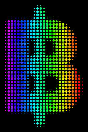 Pixelated bright halftone baht icon drawn with spectral color hues with horizontal gradient on a black background. Color vector mosaic of baht pictogram designed from circle dots. Illustration