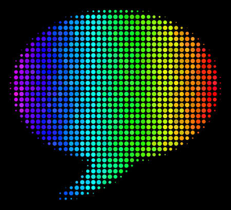 Dot colorful halftone balloon icon drawn with rainbow color variations with horizontal gradient on a black background. Colored vector collage of balloon pictogram composed with circle cells.