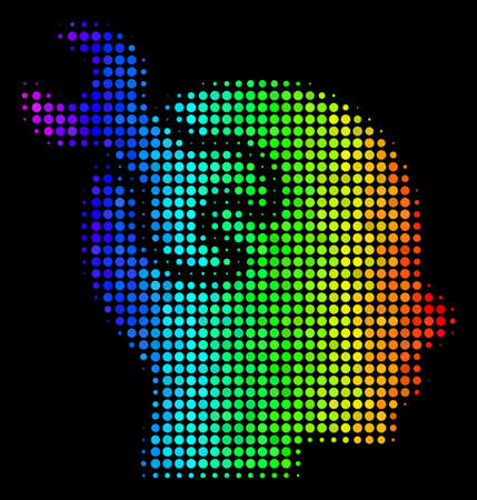 Pixelated impressive halftone brain service wrench icon in rainbow color tones with horizontal gradient on a black background.