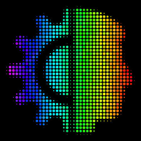 Dot impressive halftone android robotics icon drawn with spectral color hues with horizontal gradient on a black background.