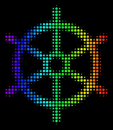 Dot colorful halftone boat steering wheel icon in spectrum color hues with horizontal gradient on a black background. Illustration