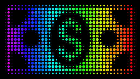 Pixel impressive halftone banknote icon in spectral color tinges with horizontal gradient on a black background. Multicolored vector concept of banknote illustration made with round elements.