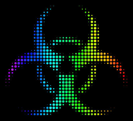 Dotted bright halftone biohazard icon drawn with spectral color tints with horizontal gradient on a black background. Colorful vector concept of biohazard symbol constructed from round points. Illustration