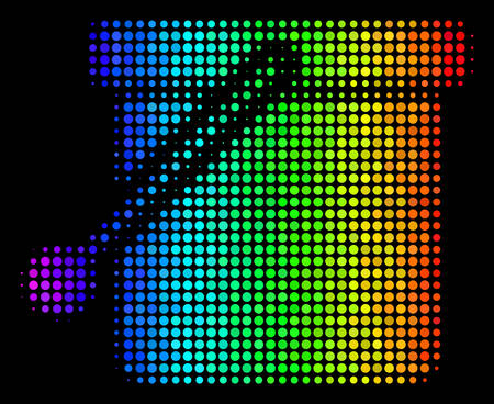 Dotted colorful halftone bucket icon in spectral color tints Ilustrace