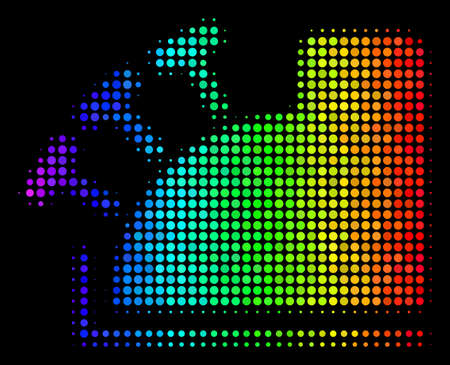 Pixelated bright halftone cash register icon using spectrum color tinges with horizontal gradient on a black background.