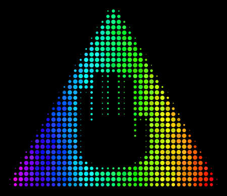 Pixel impressive halftone caution icon drawn with spectral color tints with horizontal gradient on a black background.