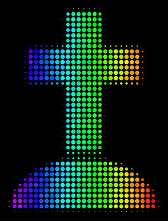 Pixel impressive halftone cemetery icon using spectrum color variations with horizontal gradient on a black background. Color vector composition of cemetery illustration made of circle cells.