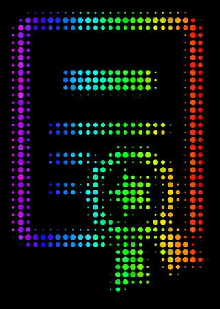 Pixel bright halftone certificate icon drawn with spectrum color shades with horizontal gradient on a black background. Multicolored vector pattern of certificate illustration made with round cells.