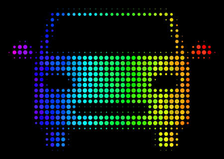 Dotted colorful halftone car icon in spectral color variations with horizontal gradient on a black background. Colored vector pattern of car pictogram organized of round dots. Illustration