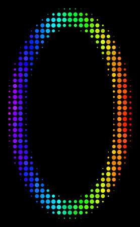 Pixel bright halftone contour ellipse icon