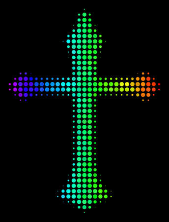 Dotted colorful halftone Christian cross icon Illustration