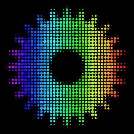 Pixelated bright halftone cogwheel icon