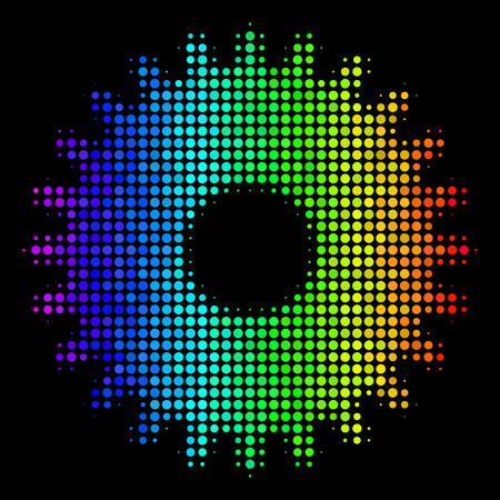 Pixelated bright halftone cogwheel icon
