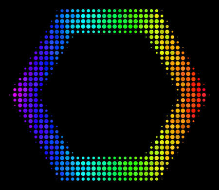 Pixel colorful halftone contour hexagon icon