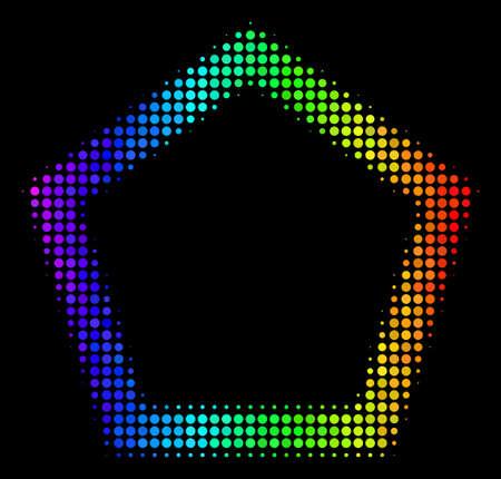 Pixelated bright halftone contour pentagon icon Illustration