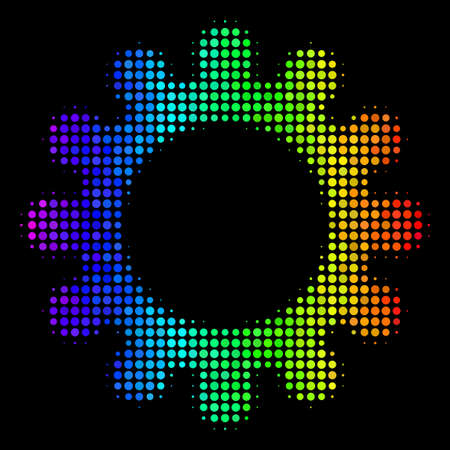 Dotted impressive halftone cog icon in spectrum color hues with horizontal gradient on a black background. Multicolored vector concept of cog symbol combined of circle pixels.