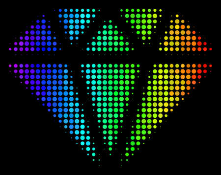 Pixel impressive halftone diamond icon in spectrum color hues with horizontal gradient on a black background. Multicolored vector concept of diamond symbol organized from circle points. Vettoriali
