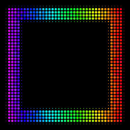 Dotted impressive halftone contour square icon in spectral color tints with horizontal gradient on a black background.