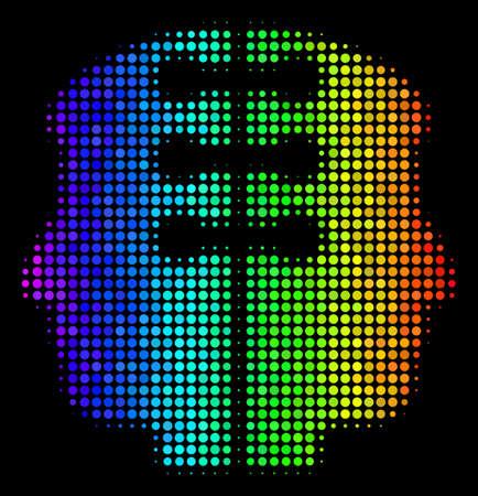 Pixelated colorful halftone dual head interface icon Çizim