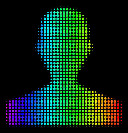 Pixelated impressive halftone customer icon drawn with spectral color tints with horizontal gradient on a black background. Bright vector collage of customer pictogram combined with circle points. Ilustrace