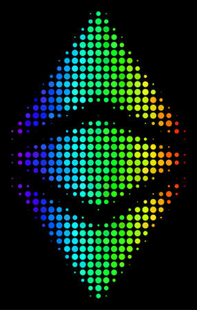 Pixel colorful halftone Ethereum classic icon in spectral color shades with horizontal gradient on a black background.
