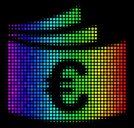 Pixelated colorful halftone Euro checkbook icon in spectral color hues with horizontal gradient on a black background. Colored vector mosaic of Euro checkbook symbol formed from spheric items.